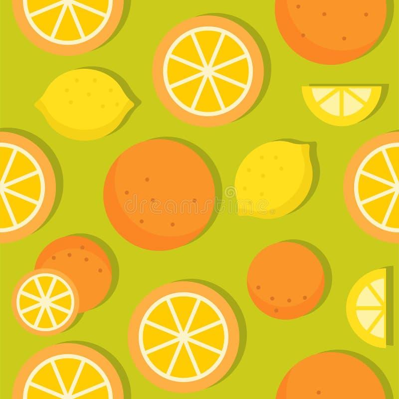 Teste padrão sem emenda do fruto tropical da laranja e do limão com sombra ilustração stock