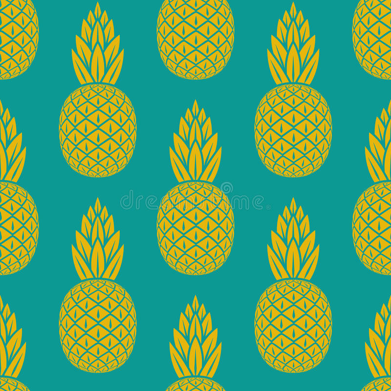 Teste padrão sem emenda do fruto tropical do abacaxi ilustração royalty free
