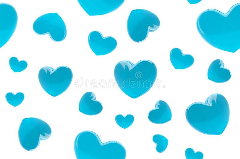 Teste padrão sem emenda do fundo à moda do dia de Valentim com corações realísticos de turquesa 3d Papel de parede na moda do amo ilustração do vetor