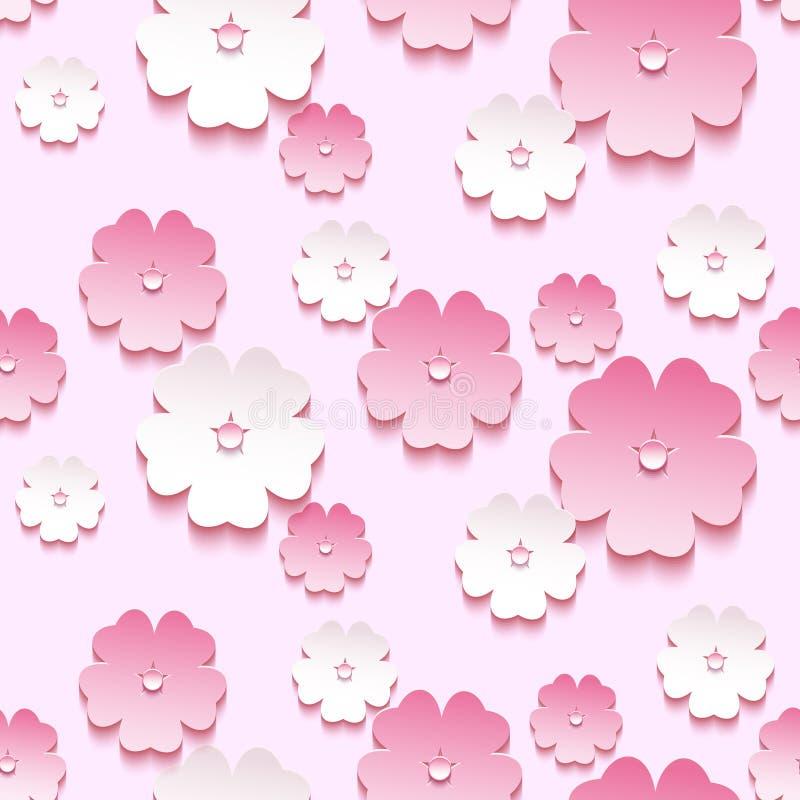 Teste padrão sem emenda do fundo bonito, flor de 3d sakura ilustração stock