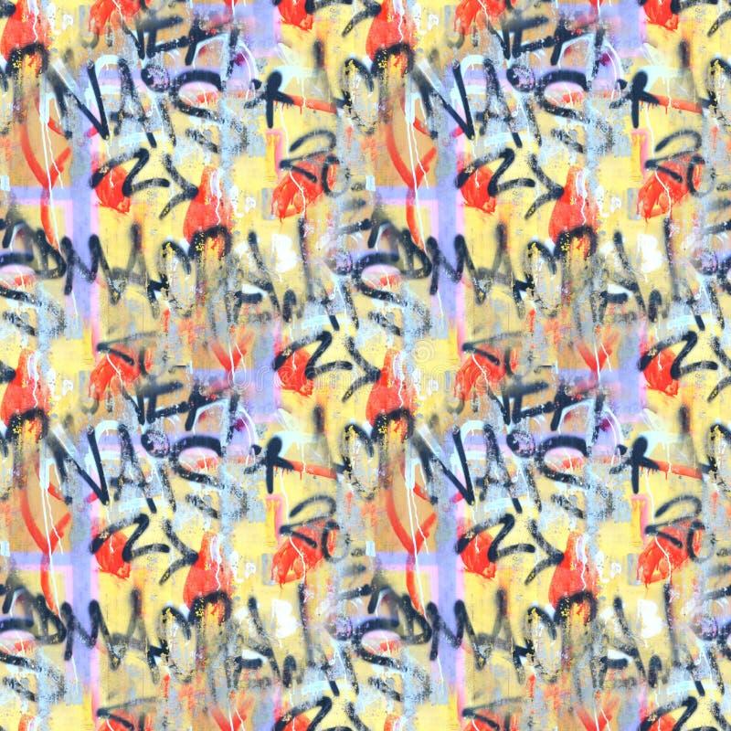 Teste padrão sem emenda do fundo colorido dos grafittis O estilo da mão dos grafittis rabisca a ilustração da arte da rua fotos de stock royalty free