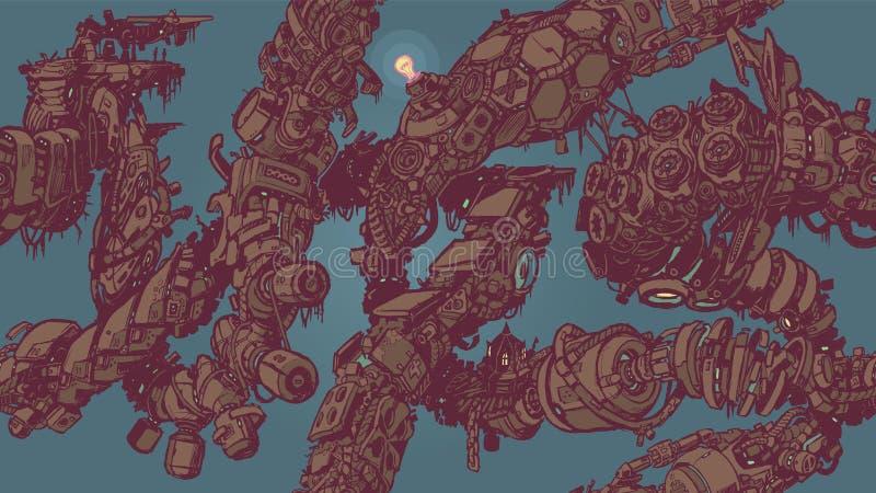 Teste padrão sem emenda do fundo da telha das videiras da sucata do Cyberpunk ilustração do vetor
