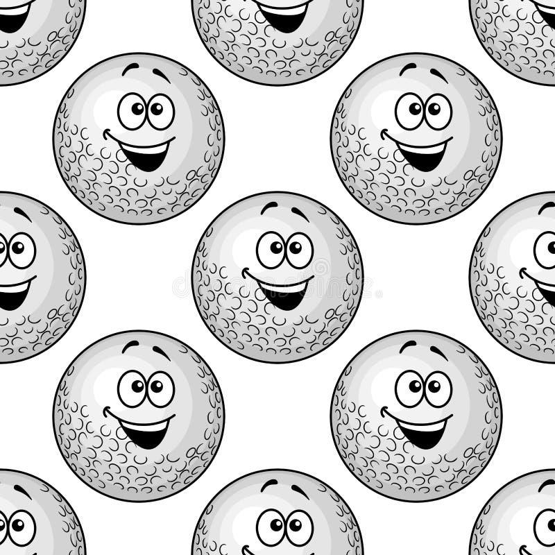 Teste padrão sem emenda do fundo das bolas de golfe dos desenhos animados ilustração royalty free