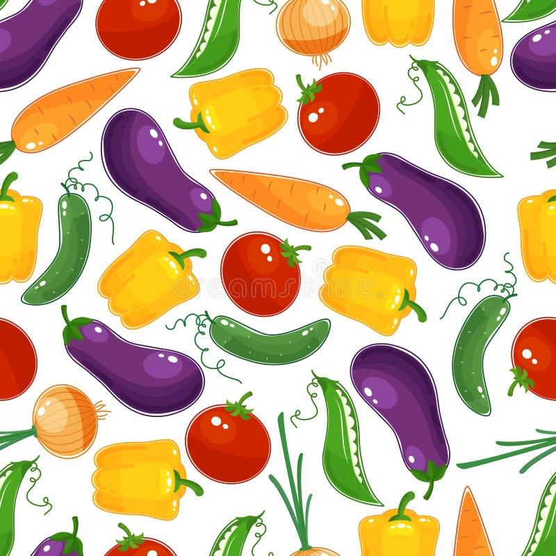 Teste padrão sem emenda do fundo de legumes frescos ilustração do vetor
