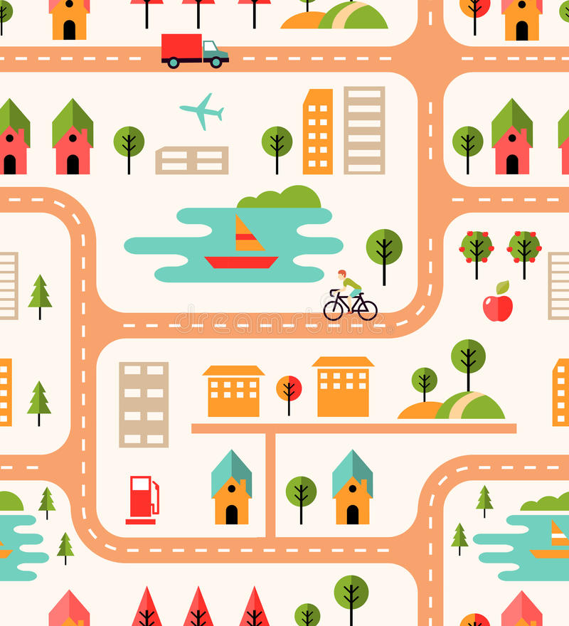 Teste padrão sem emenda do fundo do mapa da cidade ilustração do vetor