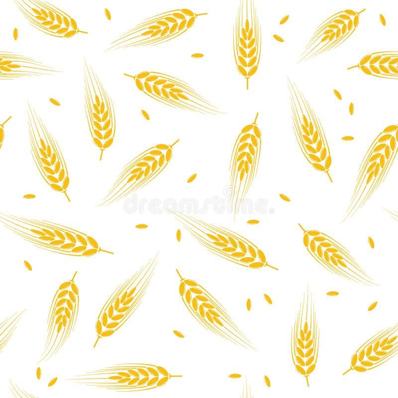 Teste padrão sem emenda do fundo do trigo, da cevada ou do centeio ilustração do vetor