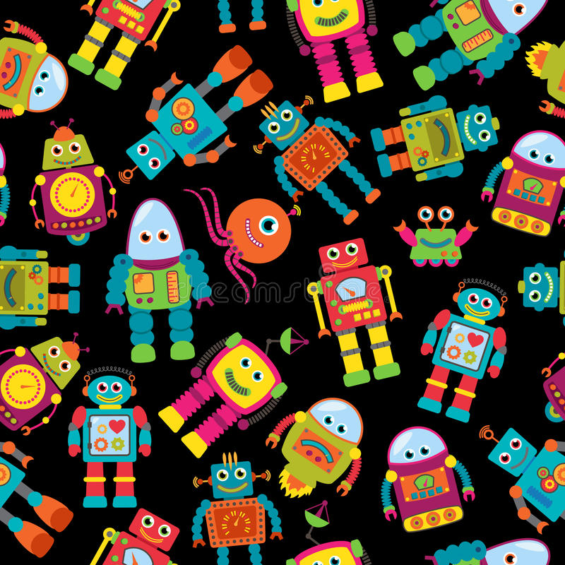 Teste padrão sem emenda do fundo do vetor de Tileable com robôs bonitos ilustração stock