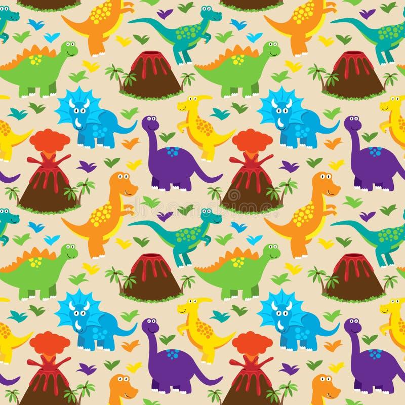 Teste padrão sem emenda do fundo do vetor de Tileable do dinossauro ilustração stock