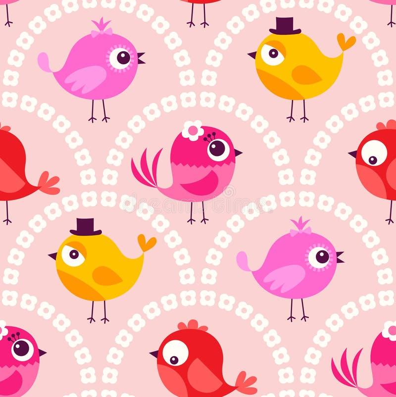 Teste padrão sem emenda do fundo dos pássaros dos desenhos animados ilustração royalty free