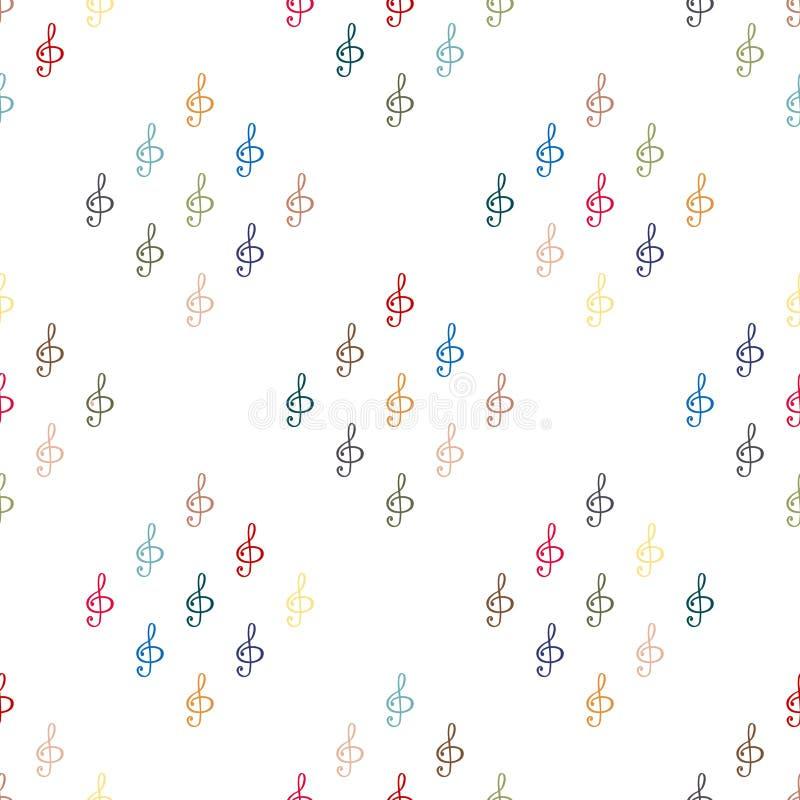 Teste padrão sem emenda do fundo na clave de sol ilustração royalty free