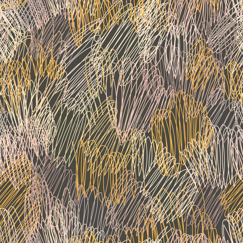 Teste padrão sem emenda do garrancho colorido do handdrown do grunge ilustração do vetor
