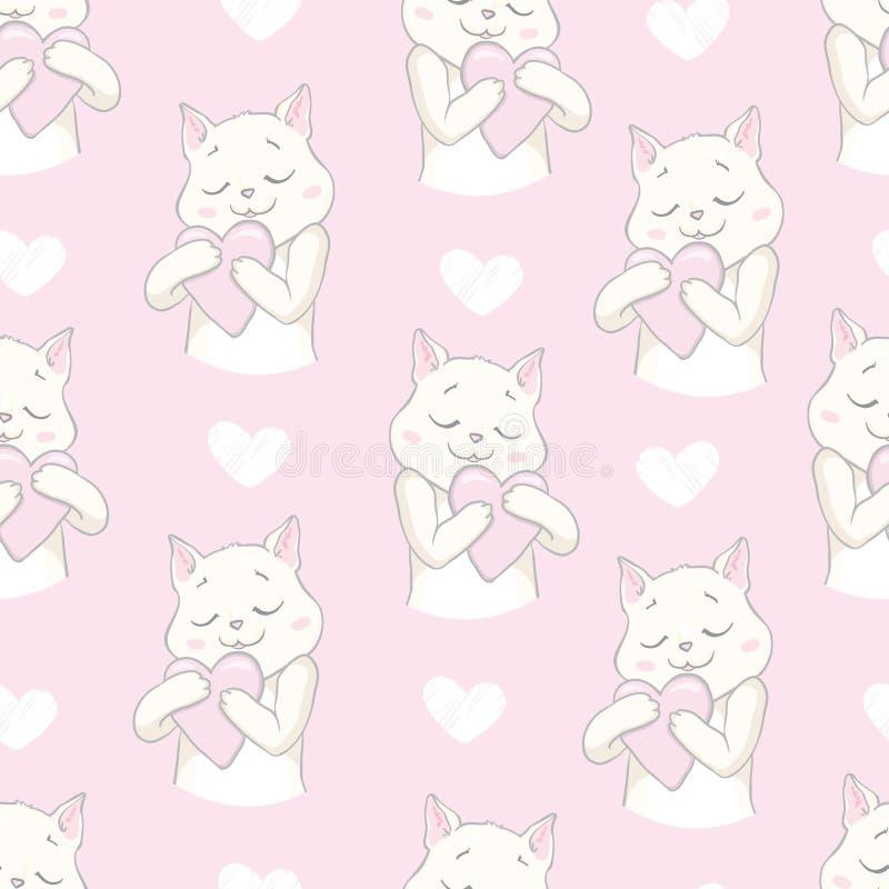 Teste padrão sem emenda do gato de Cutie ilustração royalty free