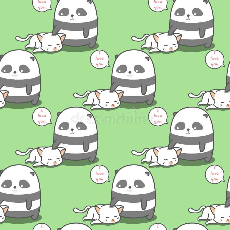 Teste padrão sem emenda do gato dos amores da panda imagem de stock