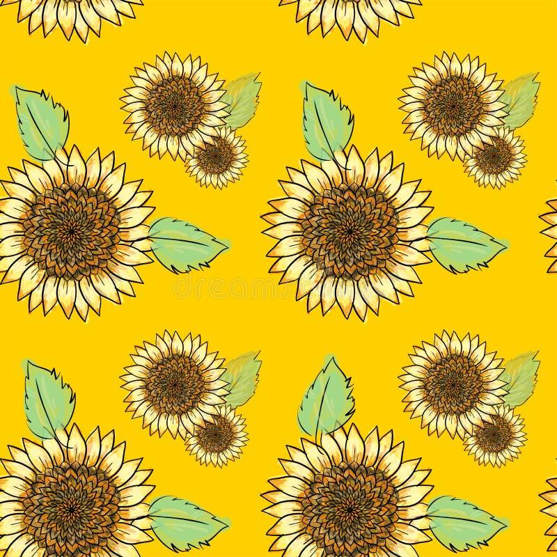 Teste padrão sem emenda do girassol com folhas verdes, imitando a tinta e a aquarela no fundo amarelo Cabeças de flor desenhados  ilustração do vetor