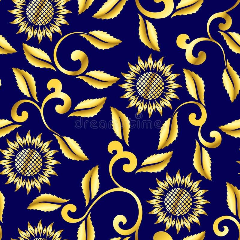 Teste padrão sem emenda do girassol e do sari dos redemoinhos ilustração do vetor