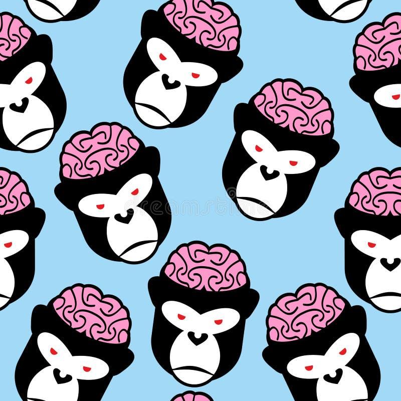 Teste padrão sem emenda do gorila Cérebros do macaco Ornamento do vetor do ilustração stock
