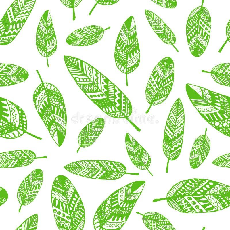 Teste padrão sem emenda do gráfico de vetor das folhas da silhueta ilustração stock