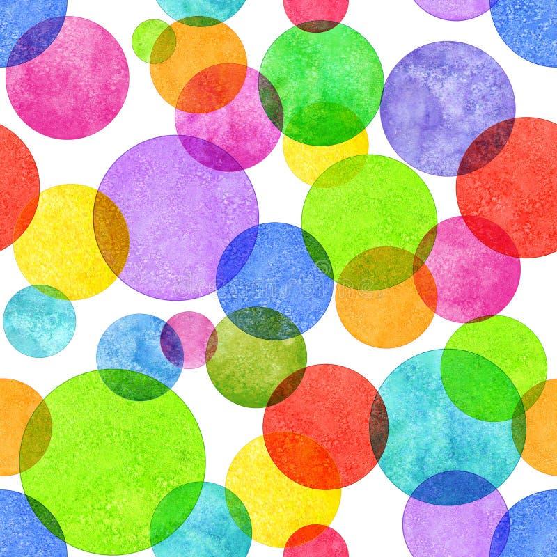 Teste padrão sem emenda do grunge colorido do círculo ilustração stock