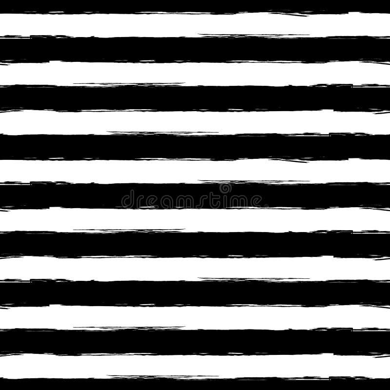 Teste padrão sem emenda do grunge da listra da aquarela do vetor Preto abstrato ilustração royalty free