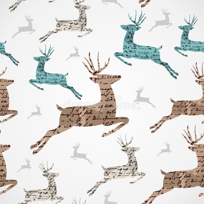 Teste padrão sem emenda do grunge da rena do vintage do Feliz Natal. ilustração do vetor