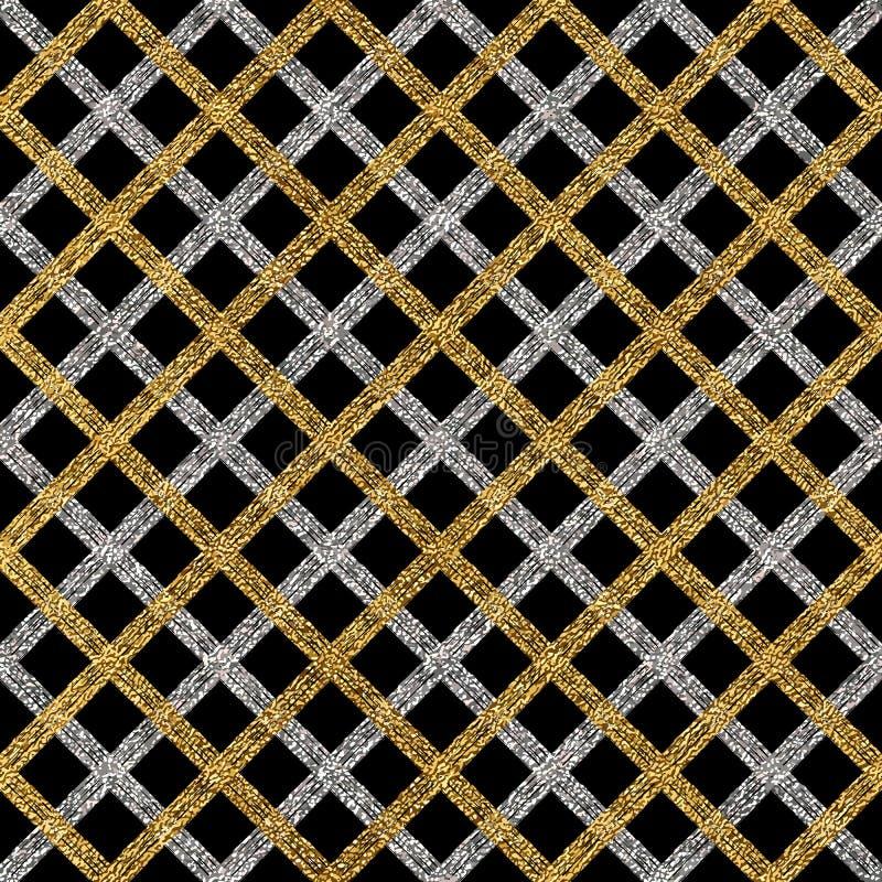 Teste padrão sem emenda do Grunge de listras ou de linhas diagonais da prata do ouro ilustração stock