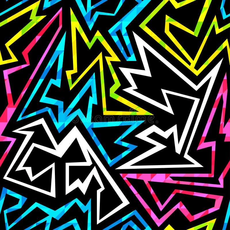 Teste padrão sem emenda do grunge geométrico de néon ilustração stock