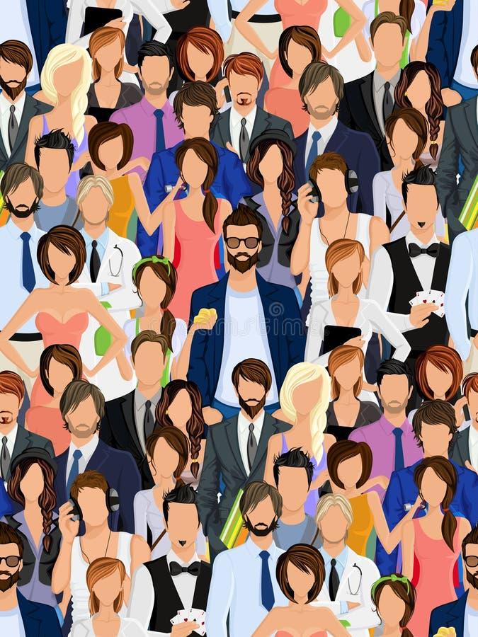 Teste padrão sem emenda do grupo de pessoas ilustração do vetor