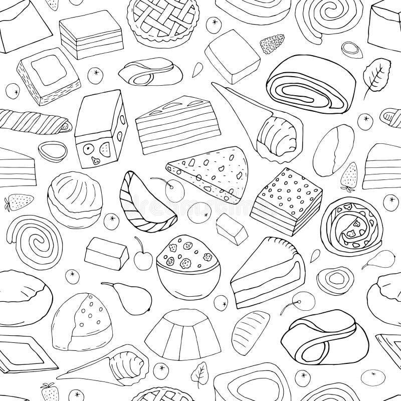 Teste padrão sem emenda do grupo de sobremesas ilustração stock