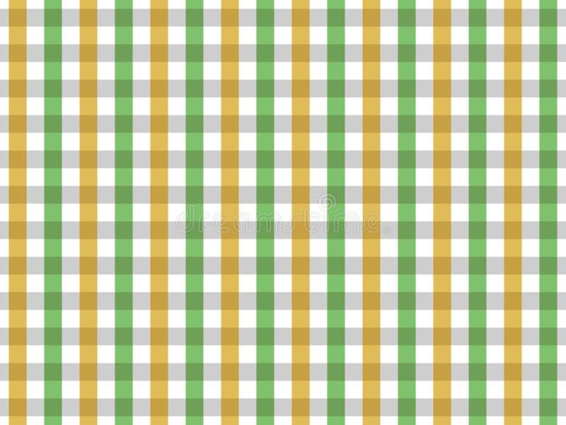 Teste padrão sem emenda do guingão da toalha de mesa verde e amarela Projeto de duas cores ilustração do vetor