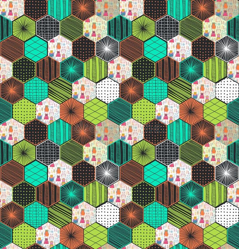 Teste padrão sem emenda do hexágono geométrico retro com corujas ilustração do vetor