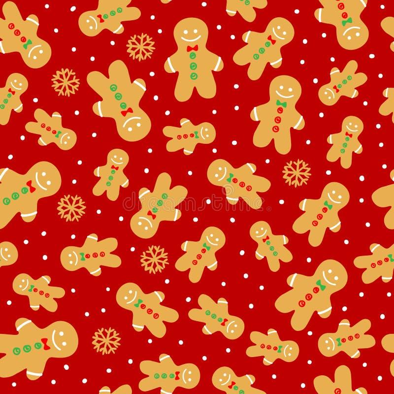 Teste padrão sem emenda do homem da cookie do pão-de-espécie Ilustração do vetor no fundo vermelho Ornamento da decoração do proj ilustração do vetor