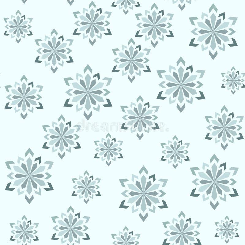 Teste padrão sem emenda do inverno abstrato Flocos de neve de tamanhos diferentes ilustração do vetor