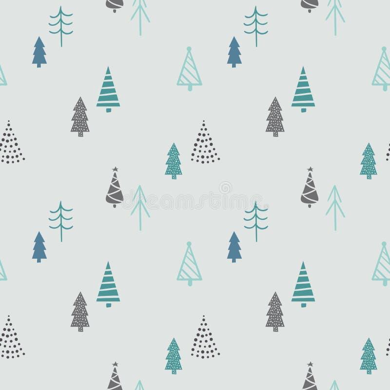 Teste padrão sem emenda do inverno com árvores de Natal Ilustração desenhada mão do vetor Papel de envolvimento do Natal ilustração do vetor