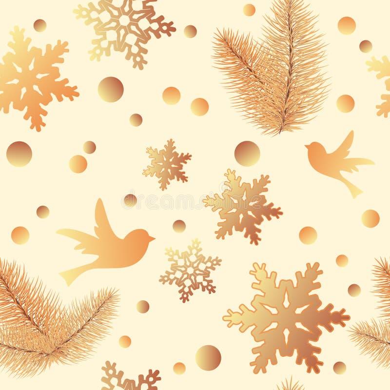Teste padrão sem emenda do inverno com elementos do Natal: árvore de Natal, presente, grinalda do Natal, sinos Projeto para a ban ilustração do vetor