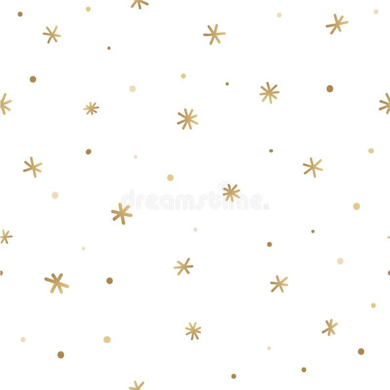Teste padrão sem emenda do inverno com flocos de neve dourados Vetor ilustração do vetor