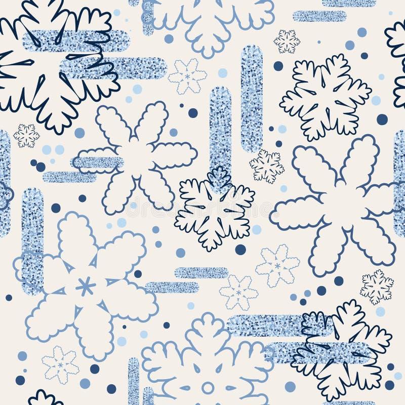 Teste padr?o sem emenda do inverno com flocos de neve, geada e elementos azuis Modo do Natal Empacotamento, tampa, Web, fundo, pa ilustração stock