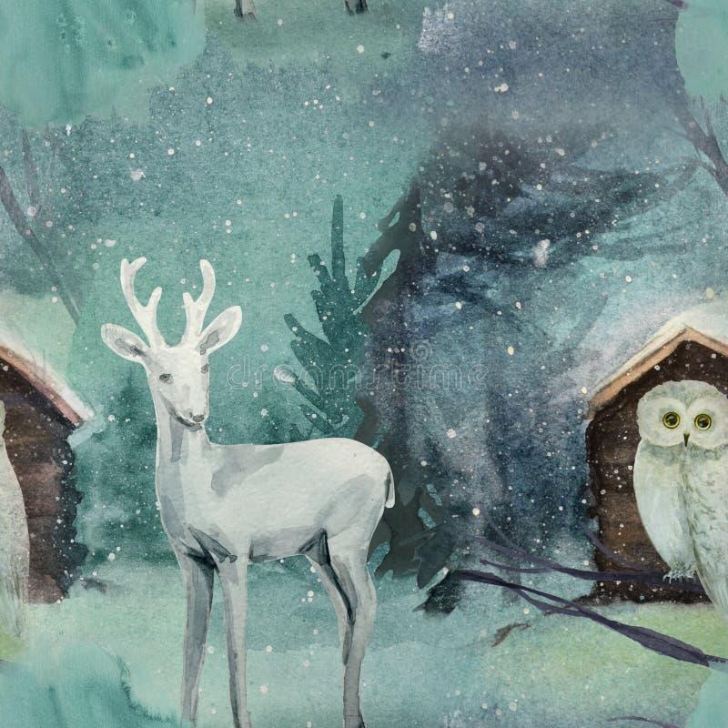 Teste padrão sem emenda do inverno com os cervos na floresta esmeralda ilustração stock