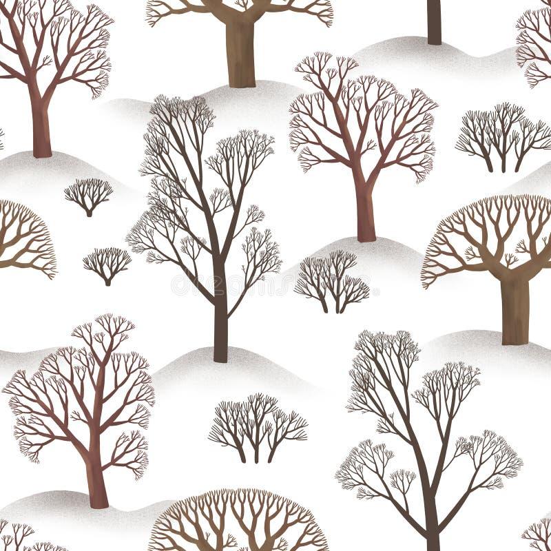 Teste padrão sem emenda do inverno de árvores simples Illustartion da floresta marrom no fundo branco da neve ilustração do vetor