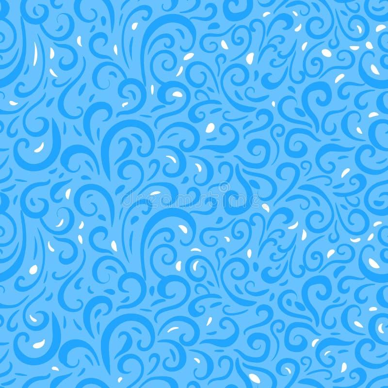 Teste padrão sem emenda do inverno do vetor Textura abstrata com ilustração da geada do redemoinho no fundo azul ilustração royalty free