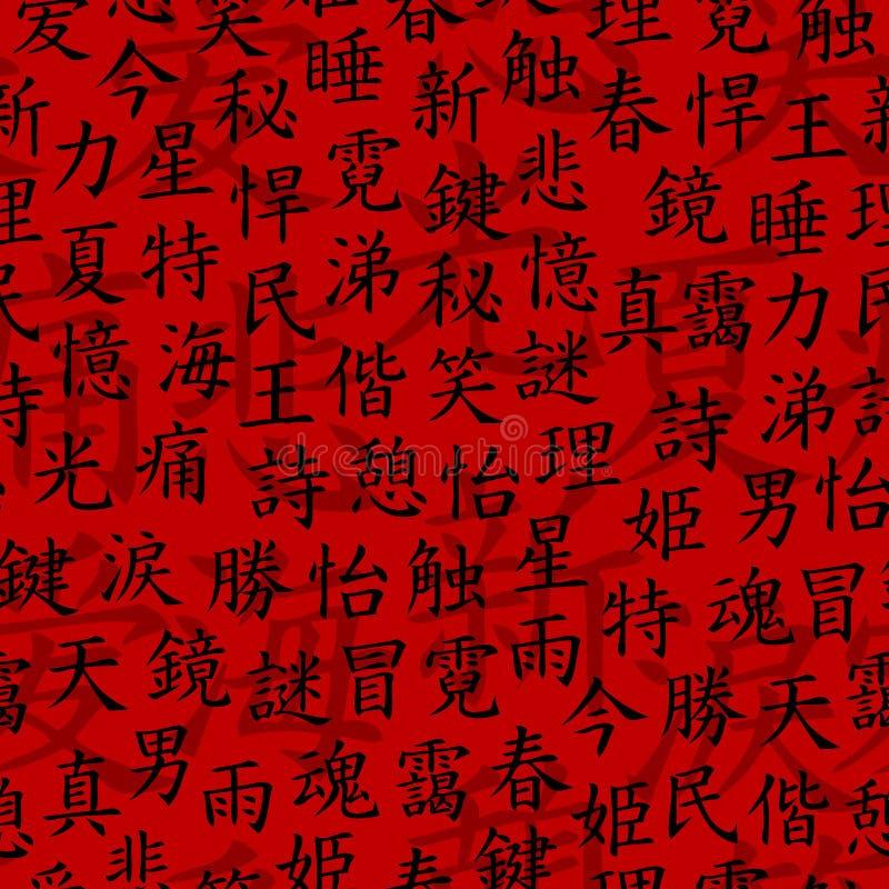 Teste padrão sem emenda do Kanji ilustração do vetor