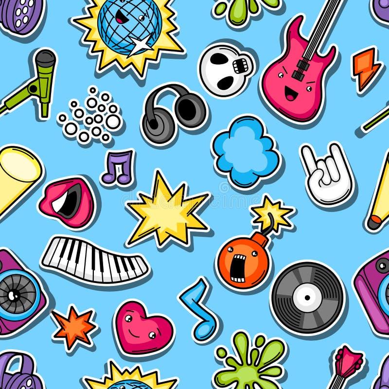 Teste padrão sem emenda do kawaii do partido da música Instrumentos musicais, símbolos e objetos no estilo dos desenhos animados ilustração royalty free