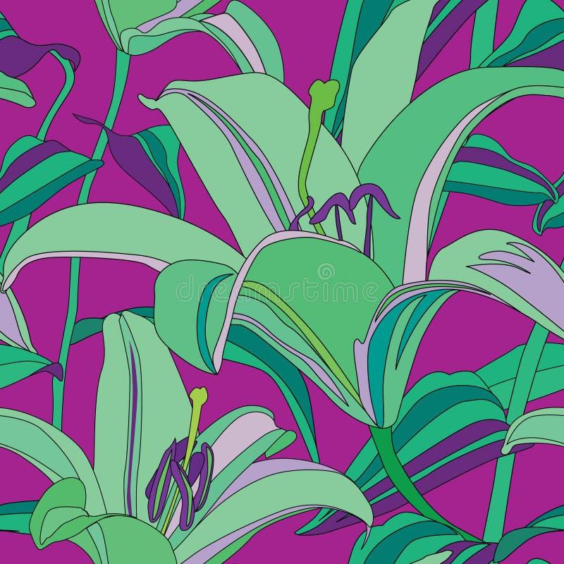 Teste padrão sem emenda do lírio abstrato da flor no estilo de Havaí ilustração stock