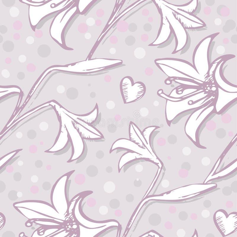 Teste padrão sem emenda do lírio para a ilustração infinita tirada da mão de impressão do papel de parede, do Web site ou da maté ilustração stock