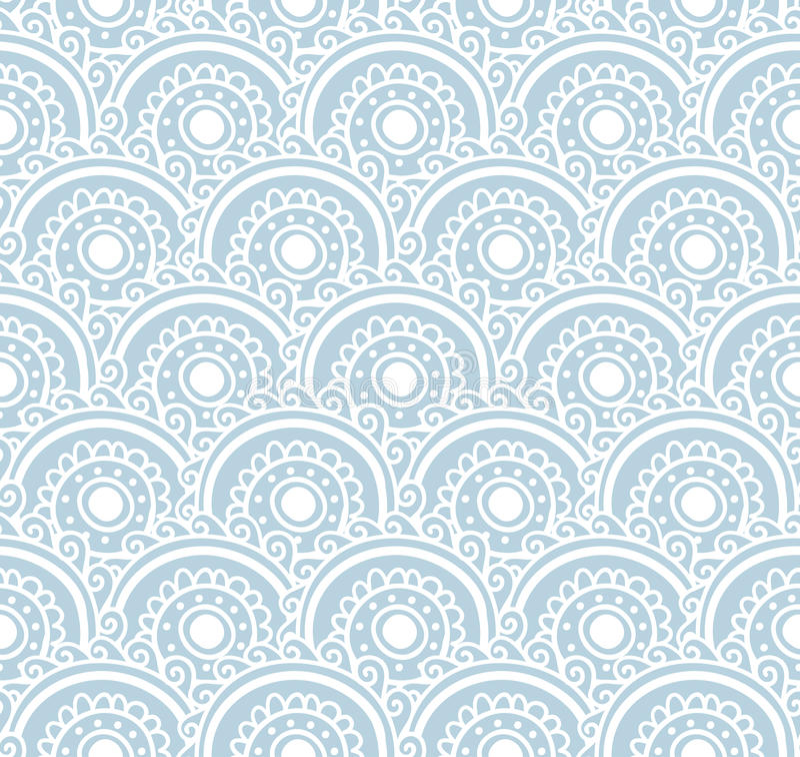 Teste padrão sem emenda do laço azul Ilustração do vetor Fundo com ondas florais ilustração royalty free