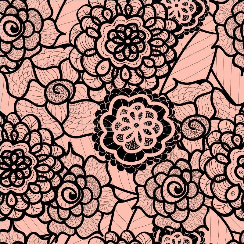 Teste padrão sem emenda do laço com elementos abstratos Fundo floral do vetor ilustração do vetor
