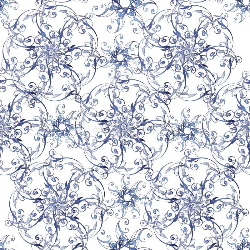Teste padrão sem emenda do laço elegante em cores azuis Teste padrão floral sem emenda do vintage em cores azuis Contexto decorat ilustração stock