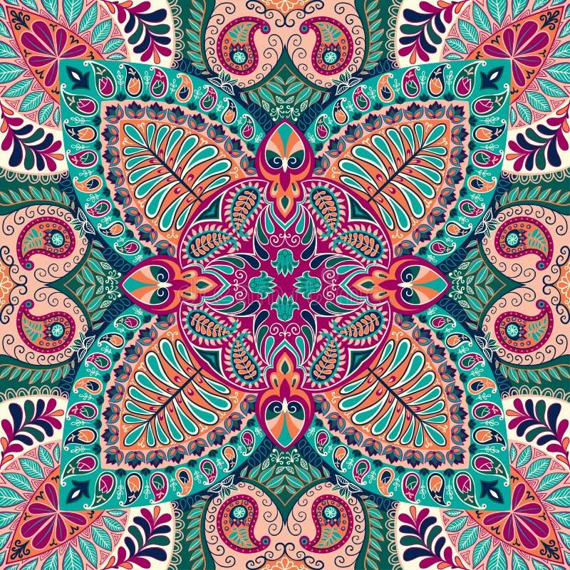 Teste padrão sem emenda do lenço de paisley da Índia, matéria têxtil decorativa, envolvendo, decoração Projeto boêmio ilustração stock