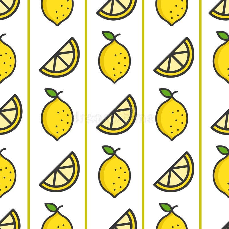 Teste padrão sem emenda do limão, tema do verão de frutos tropicais ilustração royalty free