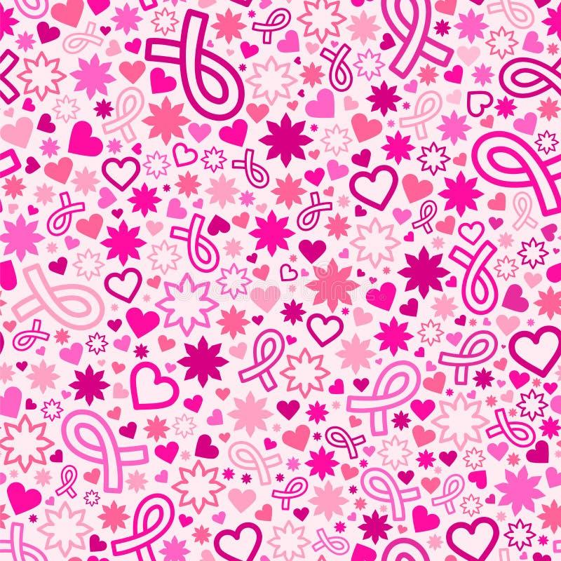 Teste padrão sem emenda do mês da conscientização do câncer da mama ilustração stock