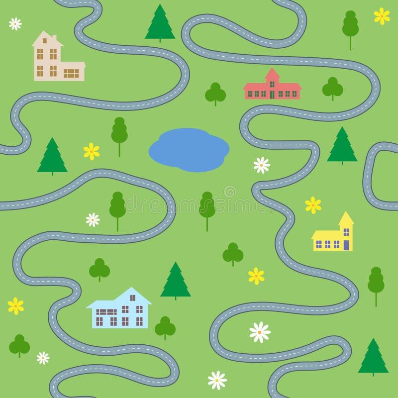 Teste padrão sem emenda do mapa dos desenhos animados com casas e estradas ilustração stock